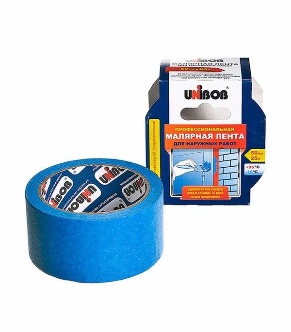 Лента малярная Unibob для наружных работ синяя 50 мм 25 м
