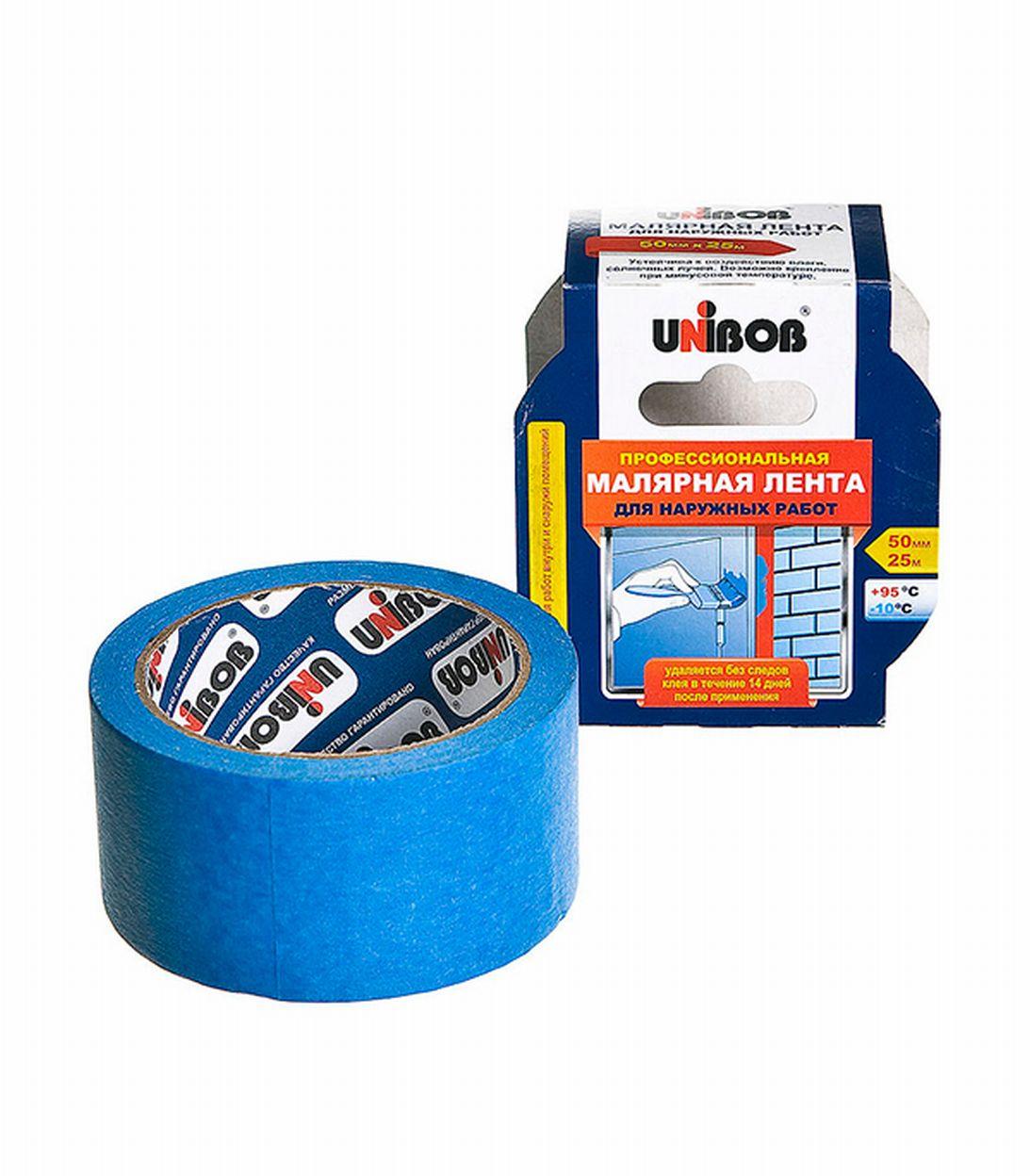 Лента малярная Unibob для наружных работ синяя 50 мм х 25 м лента малярная unibob 50 мм х 50 м