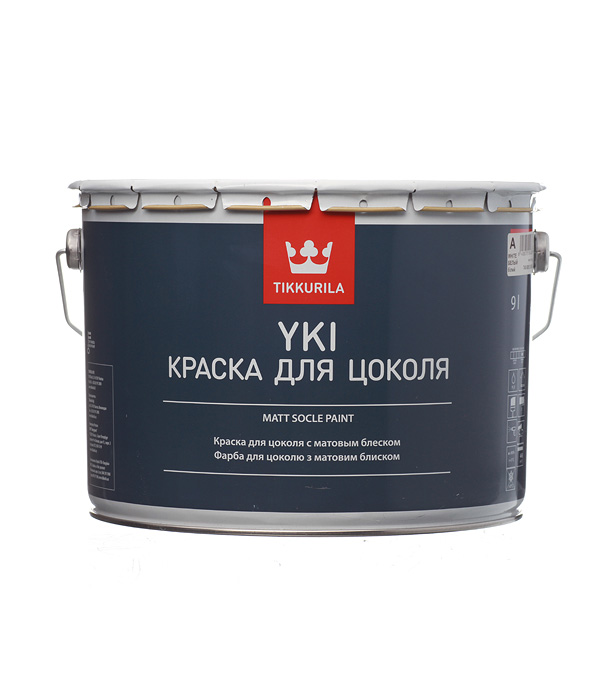 цена на Краска водно-дисперсионная для цоколя Tikkurila Yki белая основа А 9 л