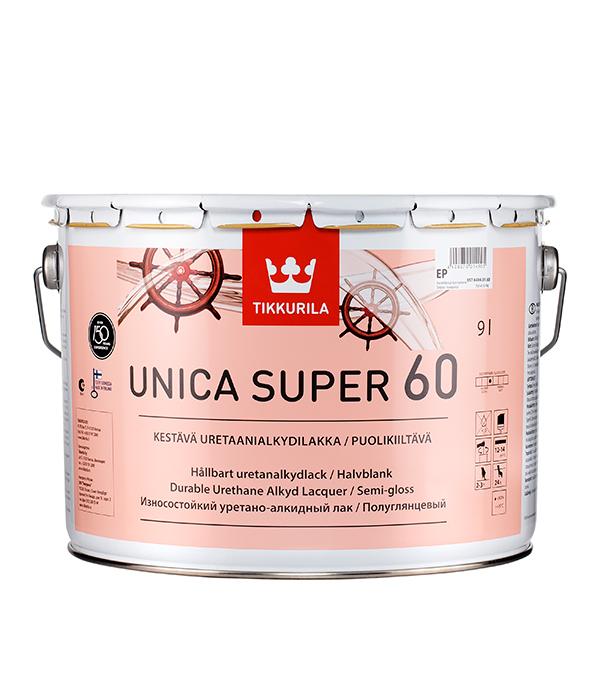 Лак алкидно-уретановый яхтный Tikkurila Unica Super 60 основа EP бесцветный 9 л полуглянцевый лак tikkurila тиккурила уника супер 60 полуглянцевый 2 7л unica super 60 по дереву полуглянцевый 2 7л