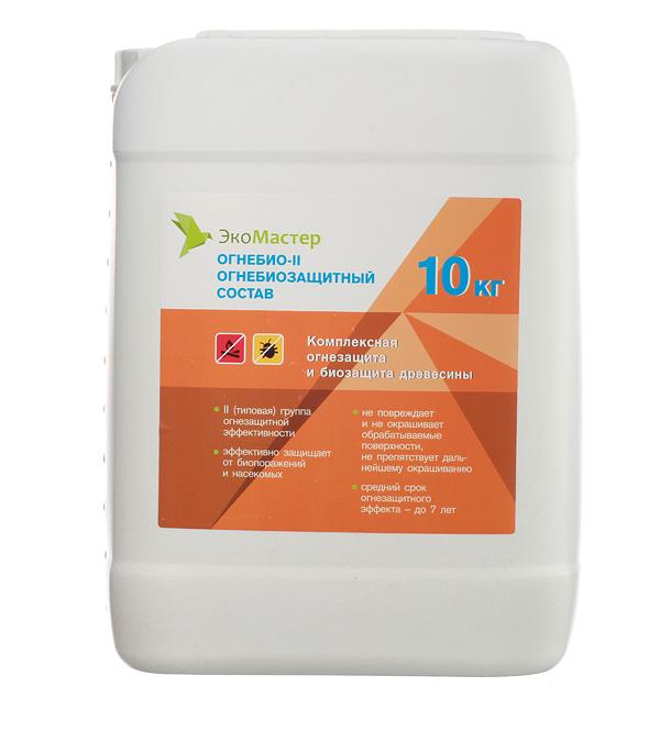 Антисептик ЭкоМастер Огнебио огнебиозащитный II группа бесцветный 10 кг стоимость