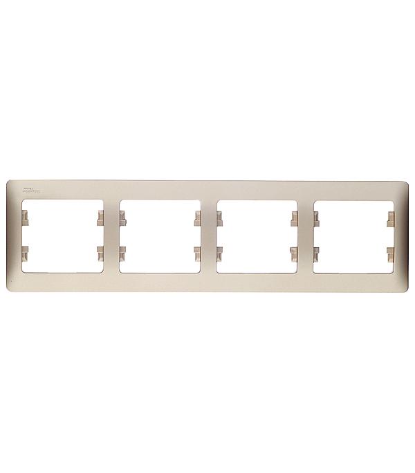 Рамка четырехместная горизонтальная Schneider Electric Glossa титан рамка schneider electric glossa 1063724