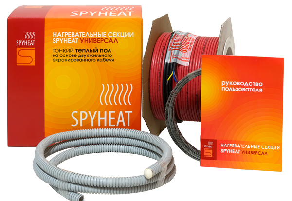 Комплект теплого пола тонкий кабель SPYHEAT 15 м 1.0-1.5 кв.м / 170 Вт на катушке цена и фото