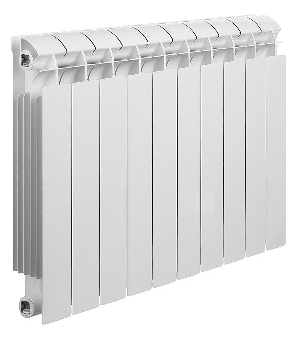 """Радиатор биметаллический Global Style Plus 500 мм 10 секций 1"""" боковое подключение белый"""