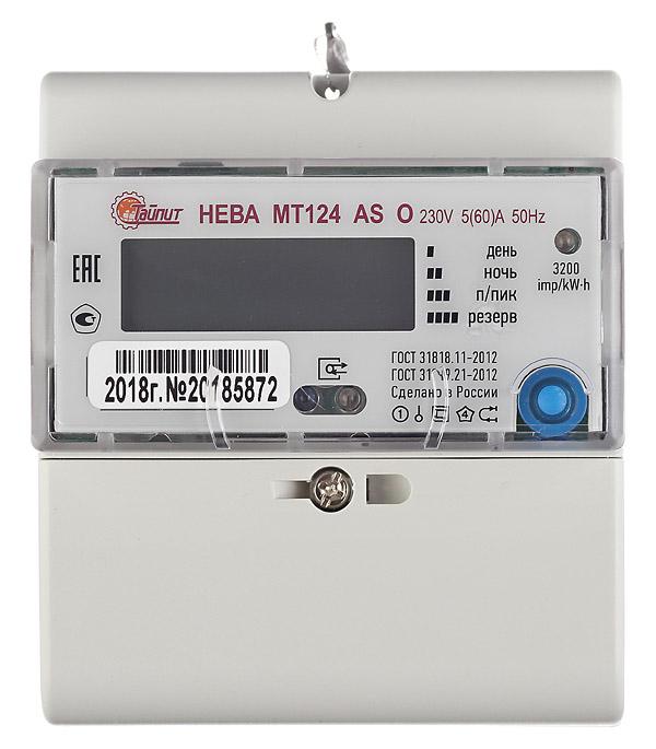 Счетчик электроэнергии Нева МТ 124 однофазный двухтарифный электронный 5(60) А на DIN-рейку
