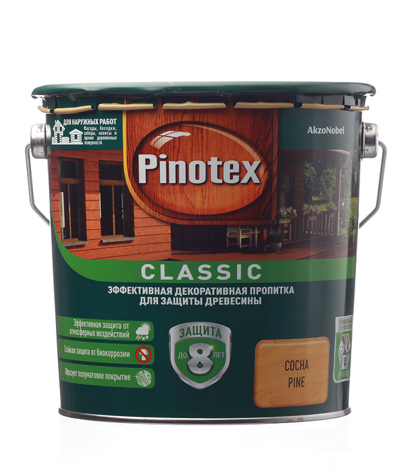 Антисептик Pinotex Classic декоративный для дерева сосна 2,7 л фото