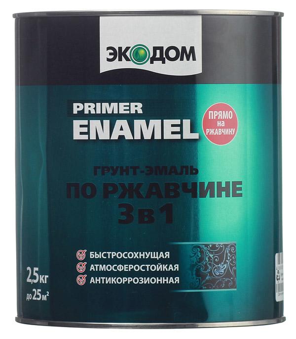 Грунт-эмаль по ржавчине Экодом черная 3в1 2,5 кг