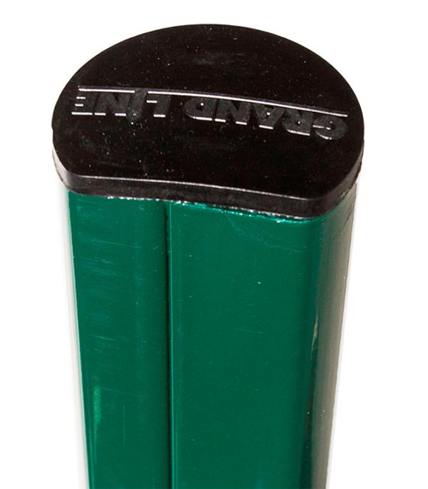 Столб заборный без отверстий с заглушкой d51 мм h2500 м зелёный RAL 6005 конек для металлочерепицы плоский с пазом 135х35х60х35х135 мм 2 м зеленый ral 6005