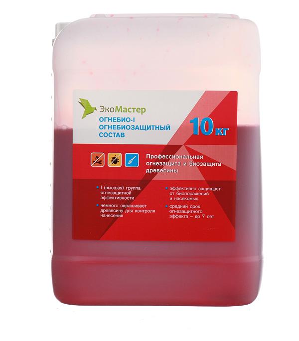 Антисептик ЭкоМастер Огнебио огнебиозащитный I группа розовый 10 кг