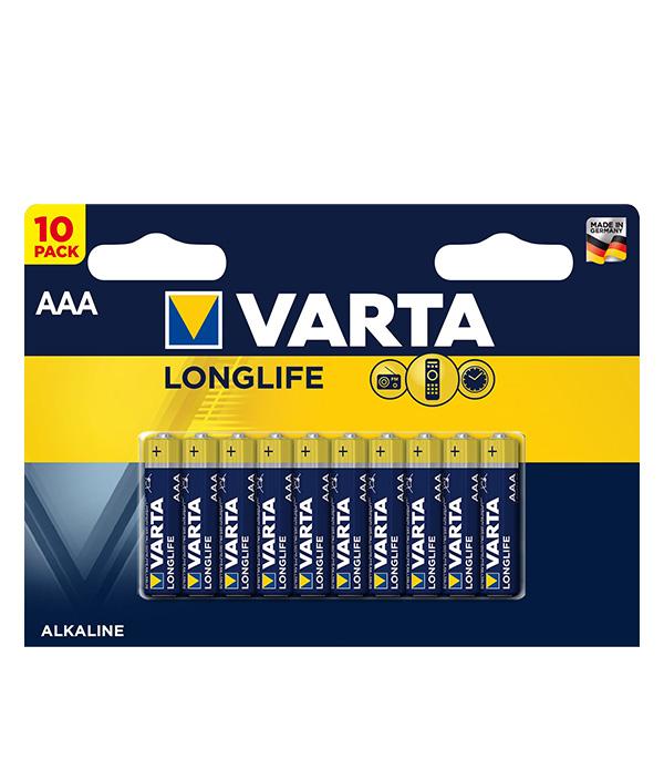 цена на Батарейка VARTA LONGLIFE AAA мизинчиковая LR03 1,5 В (10 шт.)