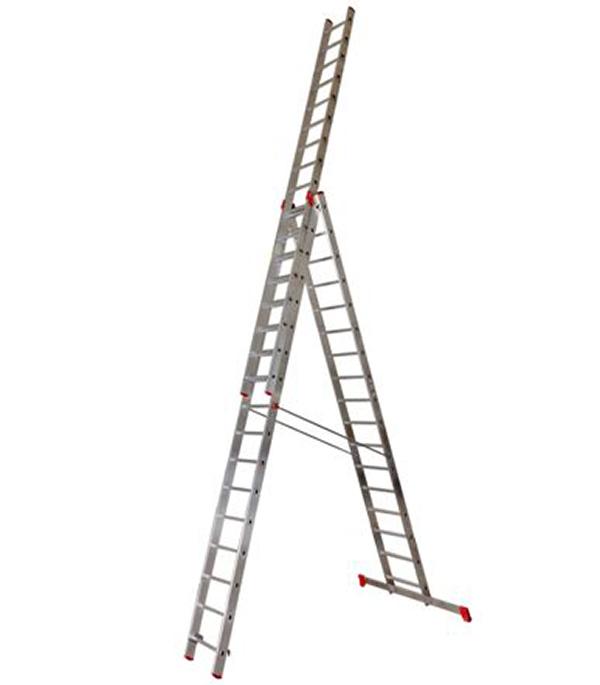 Лестница трансформер Новая высота трехсекционная алюминиевая 3х17 профессиональная