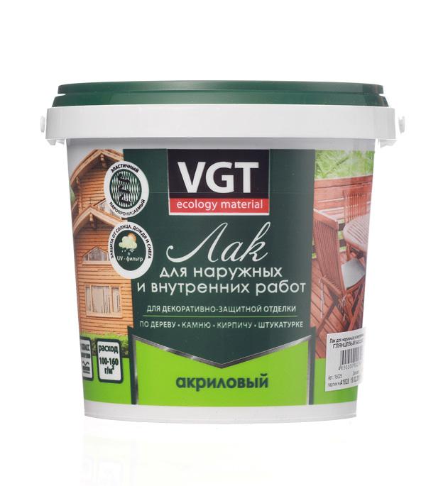 Лак акриловый для наружных и внутренних  работ VGT бесцветный 0,9  кг глянцевый