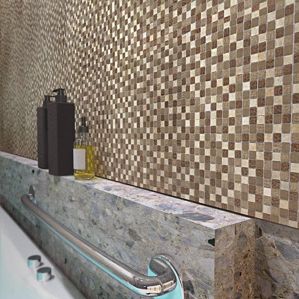 Мозаика Caramelle Amber из стекла и камня 300х300х8 мм микс поверхностей