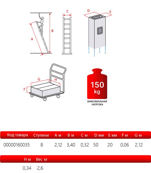 Лестница приставная Новая высота односекционная алюминиевая 1х8 бытовая фото