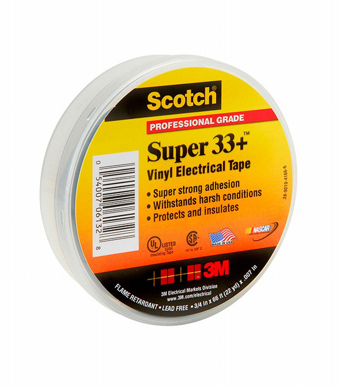 Изолента 3M Super 33+ ПВХ черная 19 мм 20 м