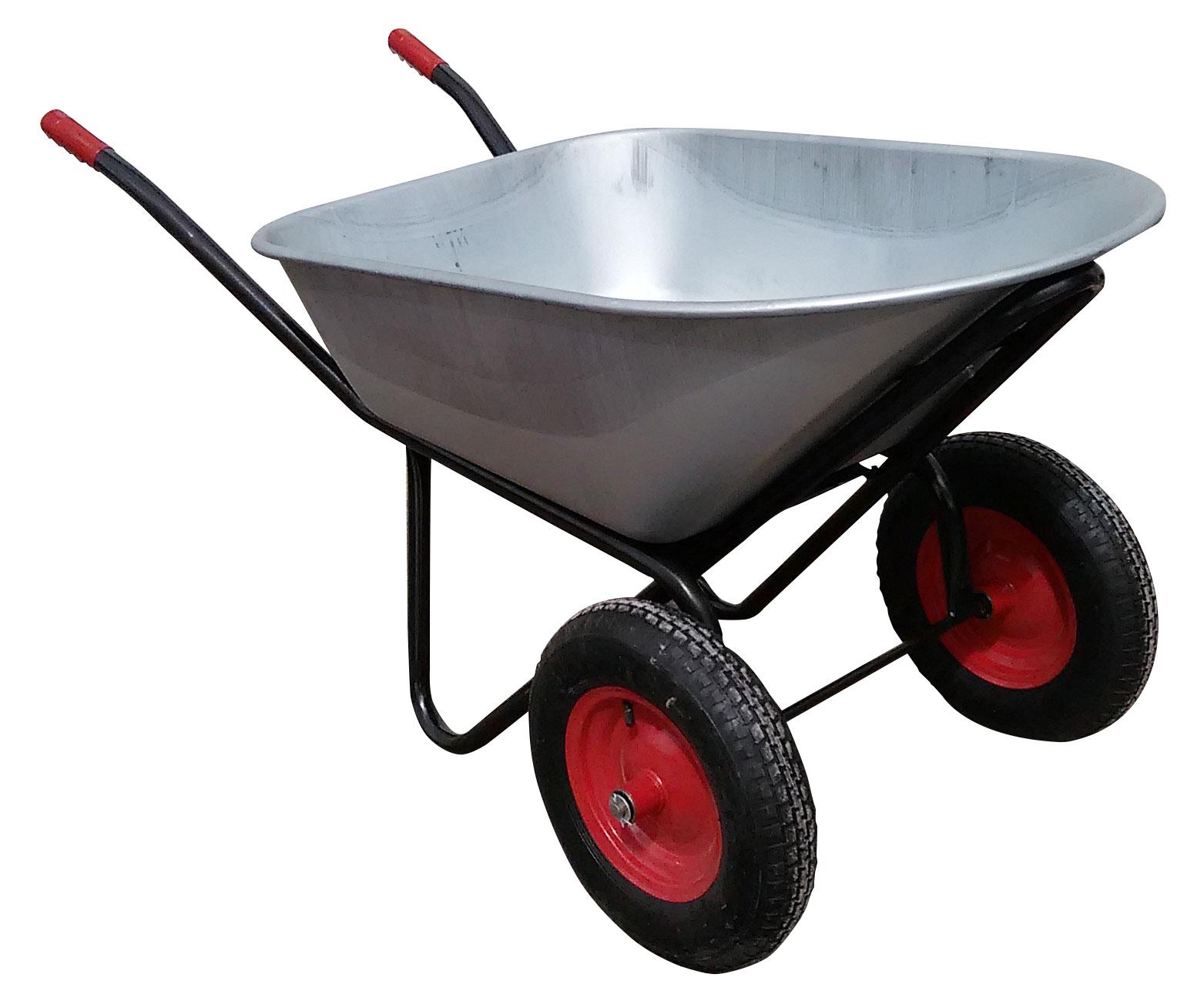Тачка садово-строительная двухколесная 100 л 350 кг усиленная с овальным корытом фото