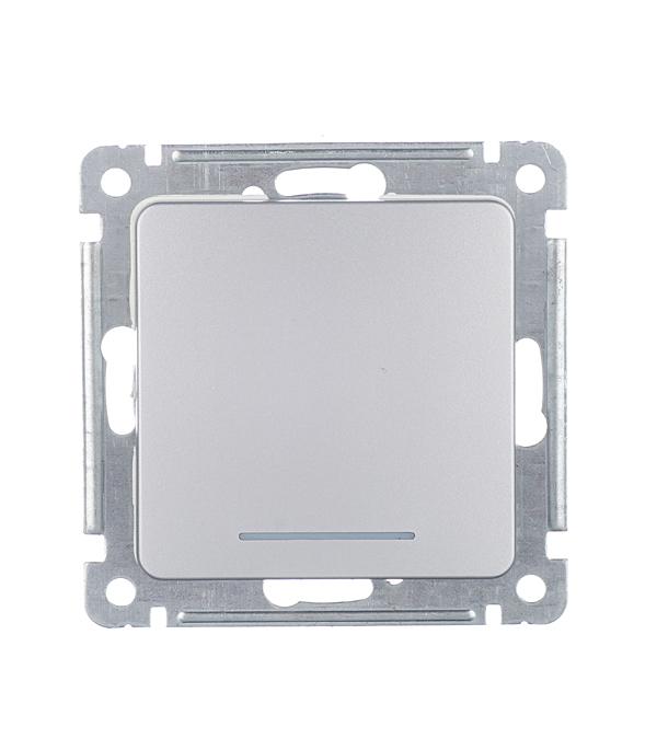 Переключатель HEGEL Master ВС10-462-06 одноклавишный на 2 направления скрытая установка серебро с подсветкой