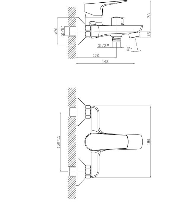 Смеситель для ванны и душа с коротким изливом MITTE MODA MDA01BS однорычажный с лейкой фото