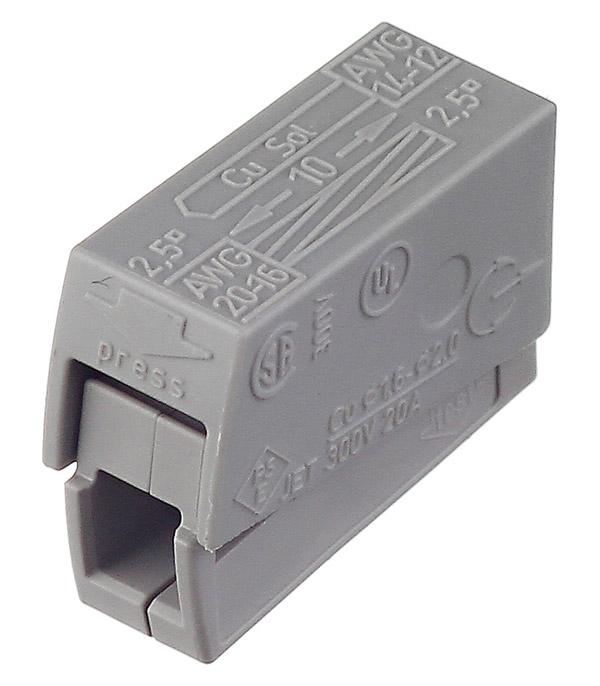 Зажим клемма Wago 224-111 для светильника на 2 провода 0,5-2,5 мм кв с пастой 5 шт