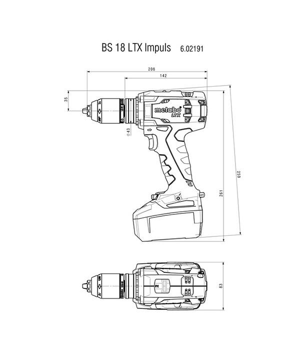 Дрель-шуруповерт аккумуляторная Metabo BS (602191960) 18В 3х4Ач Li-Ion фото