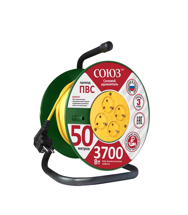 Удлинитель силовой на катушке Союз (481S-3605) с заземлением 50 м 16 А 220-250 В ПВС 3х1,5 мм2 4 розетки 3,7 кВт IP20 фото