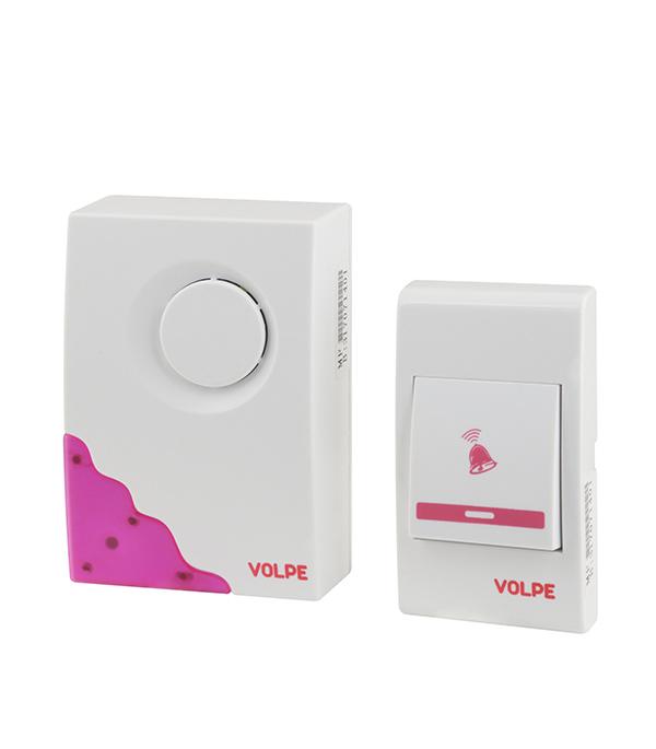 Звонок беспроводной с кнопкой 16 мелодий белый/розовый фото