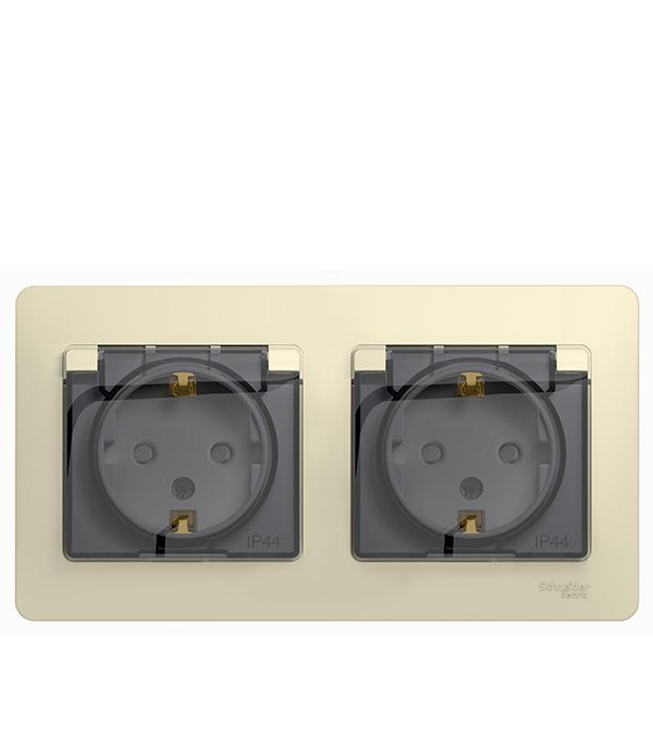 Розетка с рамкой Schneider Electric Glossa GSL000247 двойная скрытая установка бежевая с заземлением IP44 со шторками