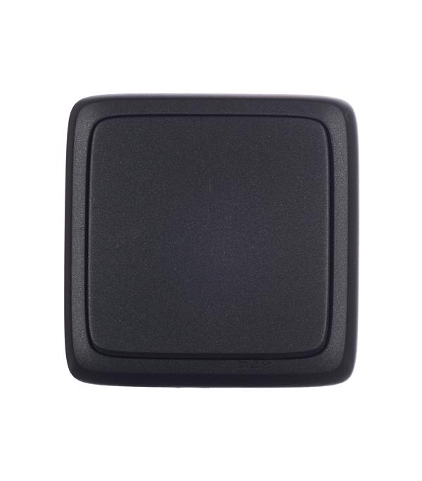 Выключатель HEGEL Alfa ВА10-113-08 одноклавишный открытая установка черный с изолирующей пластиной