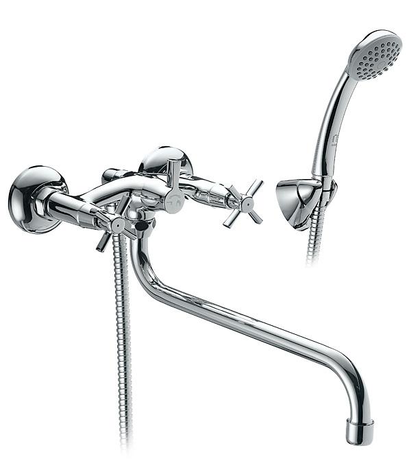 Смеситель для ванны и душа MILARDO ONTARIO ONTSBLCM10 с длинным изливом двухвентильный с лейкой смеситель для ванны с длинным изливом с керамическим дивертором milardo hudson hudsblcm10