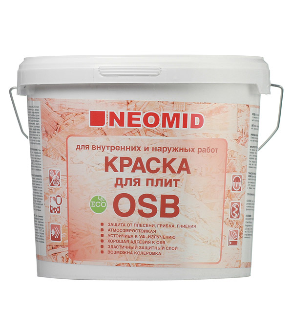 Краска водно-дисперсионная для плит OSB Neomid для внутренних и наружных работ 7 кг