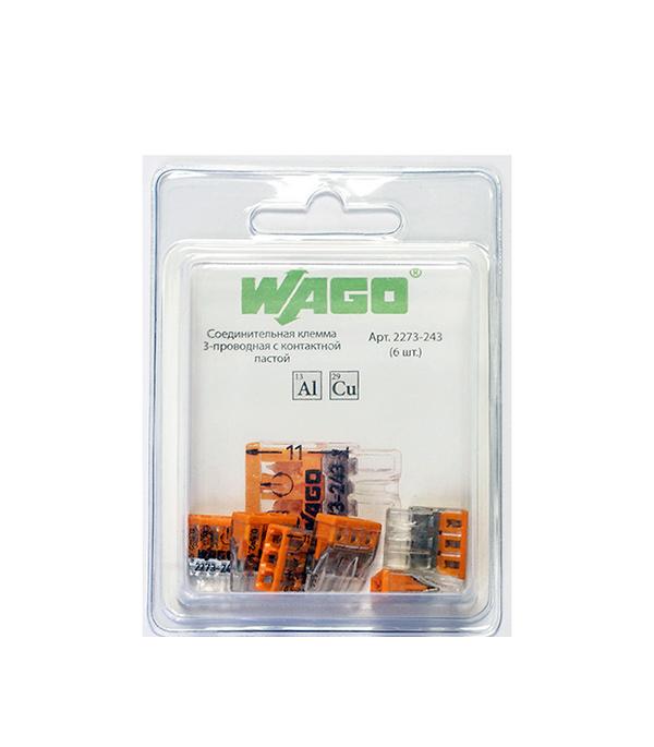 Клемма на 3 провода Wago 2273-243 0,5-2,5 кв. мм с пастой (6 шт.)