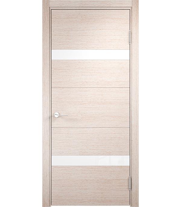 Дверное полотно Verda Турин 05 дуб бежевый вералинга со стеклом экошпон 600x2000 мм ручка защелка punto 6020 mab p