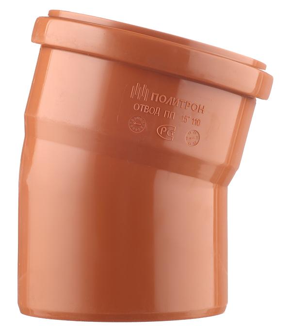 Отвод d110 мм 15° пластиковый для наружной