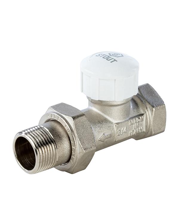 Клапан (вентиль) термостатический прямой Stout (SVT 0003 000020) 3/4 НР(ш) х 3/4 ВР(г) для радиатора клапан вентиль запорный прямой tiemme 3 4 нр ш х 3 4 вр г для радиатора
