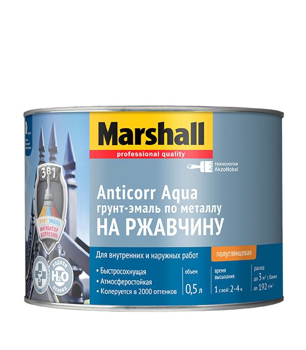 Грунт-эмаль по ржавчине Marshall Anticorr Aqua полуглянцевая белая основа BW 0,5 л стоимость