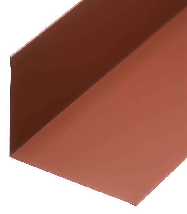 Планка примыкания для металлочерепицы 130х160 мм 2 м коричневая RAL 8017 планка карнизная для металлочерепицы 50х100 мм 2 м коричневая ral 8017