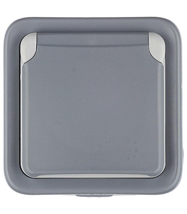 Розетка Legrand Plexo о/у с заземлением с крышкой влагозащищенная IP55 со шторками серый коробка распределительная legrand plexo 40х40х60 мм цвет серый ip55