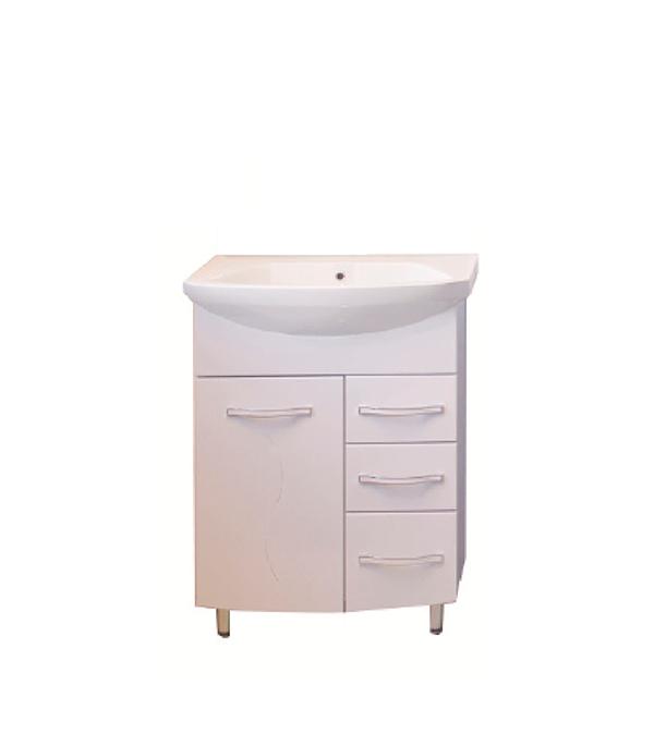 Тумба под раковину АСБ-Мебель Грета 600 мм напольная белая мебель для ванной эстет dallas luxe r 120 напольный два ящика белый