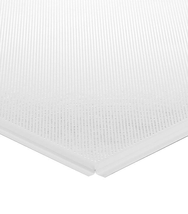 Плита к подвесному потолку кассетная алюминиевая 600х600 мм Албес Tegular.Стандарт белая перфорирированная