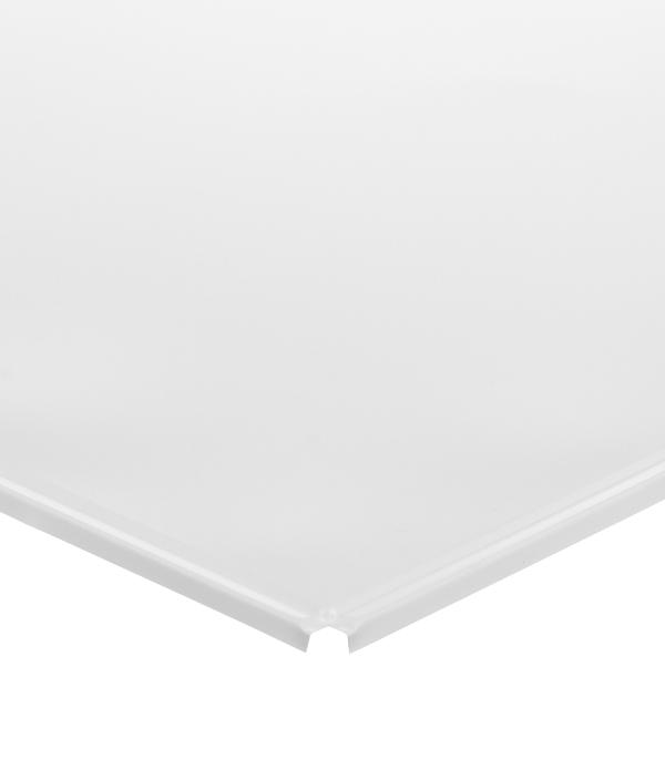 Плита к подвесному потолку кассетная алюминиевая 600х600 мм Албес Line Эконом белая матовая
