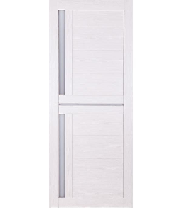 Дверное полотно Принцип ЛАЙТ-1 лиственница белая со стеклом экошпон 800x2000 мм ручка защелка punto 6020 mab p