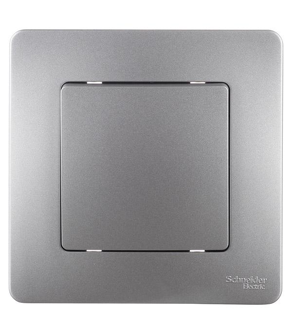 Выключатель с рамкой Schneider Electric Blanca BLNVS010103 одноклавишный скрытая установка алюминий
