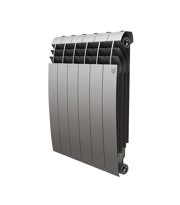 """Радиатор биметаллический Royal Thermo BiLiner Silver Satin 500 мм 6 секций 1"""" боковое подключение серый"""