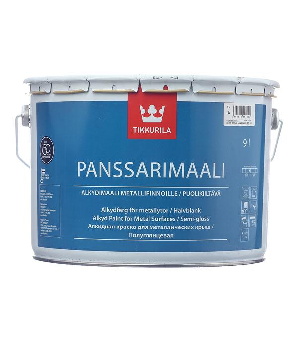 цена на Эмаль для металических крыш Tikkurila Panssarimaali белая основа А  полуглянцевая 9 л