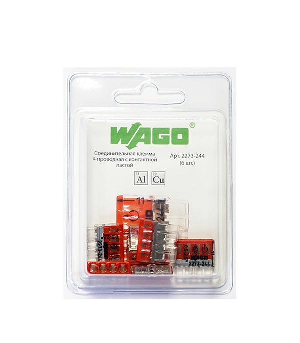 Клемма на 4 провода Wago 2273-244 0,5-2,5 кв. мм с пастой (6 шт.)