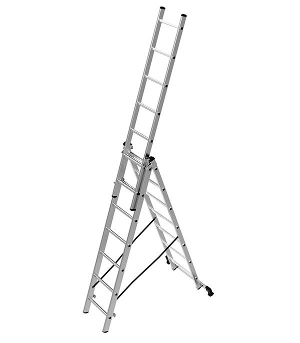 Фото - Лестница трансформер Новая высота трехсекционная алюминиевая 3х7 бытовая лестница приставная новая высота односекционная алюминиевая 1х8 бытовая