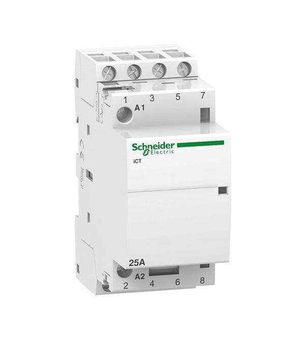 Контактор модульный Schneider Electric Acti 9 iCT (A9C20834) 220 В 25 А тип AC 4P клеммы тунельного типа