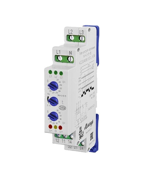 Реле контроля напряжения модульное Меандр РКН-3-15-15 (7860310/33945) 230/400 В 5 А тип AC 1P фото