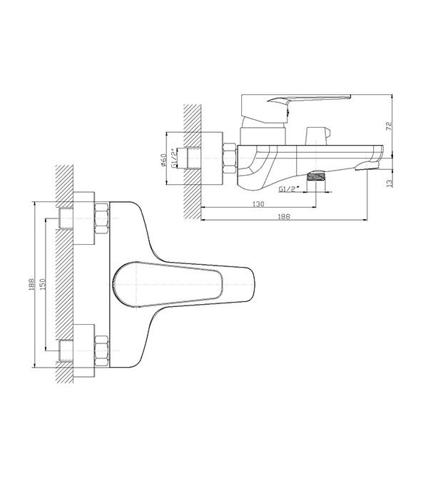 Смеситель для ванны/душа DECOROOM DR69036 с коротким изливом однорычажный с лейкой фото