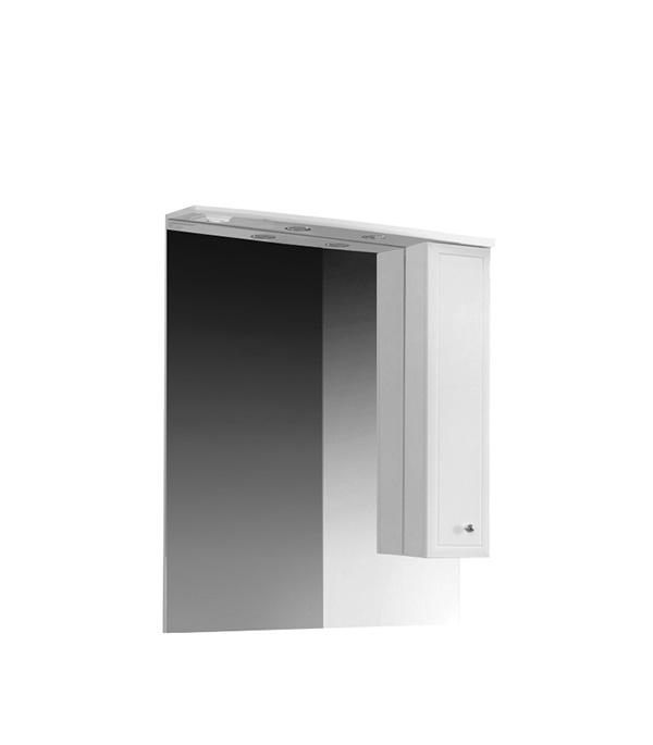 Зеркальный шкаф BELUX Адажио 800 мм  с подсветкой белый belux шкаф пенал belux бриз 30 белый l
